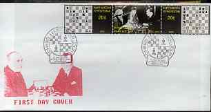 Kyrgyzstan 2000 Alexandre Alekhine #6 perf strip of 3 on illustrated cover with special Chess cancellation