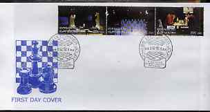 Kyrgyzstan 2000 Immopar Chess Trophy #5 perf strip of 3 on illustrated cover with special Chess cancellation