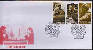 Kyrgyzstan 2000 Karpov & Kasparov (Chess) #2 perf strip of 3 on illustrated cover with special Chess cancellation