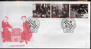 Kyrgyzstan 2000 History of Chess #1 perf strip of 3 on illustrated cover with special Chess cancellation