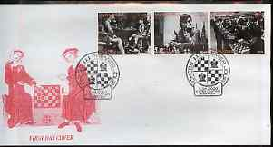 Kyrgyzstan 2000 History of Chess #2 perf strip of 3 on illustrated cover with special Chess cancellation