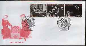 Kyrgyzstan 2000 History of Chess #3 perf strip of 3 on illustrated cover with special Chess cancellation