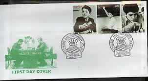 Kyrgyzstan 2000 Garry Kasparov #3 perf strip of 3 on illustrated cover with special Chess cancellation
