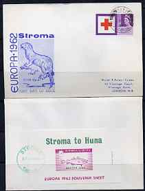 Stroma 1963 Europa imperf m/sheet (2s6d fish) on cover to London correctly cancelled in Stroma and carried to Huna, with Great Britain Red Cross 3d stamp cancelled Huna for normal UK delivery. Note: I have several of these covers so the one you receive may be slightly different to the one illustrated