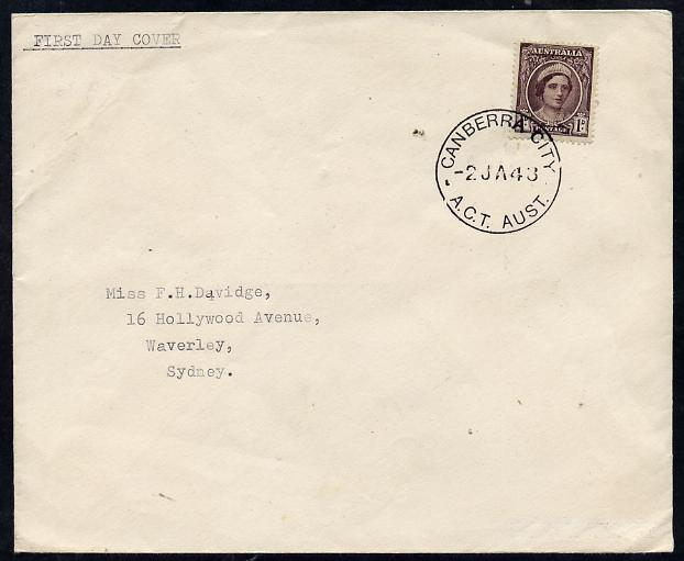 Australia 1943 KG6 1d brown-purple on plain typed addressed cover with clear first day cancel (SG203) stamp has been applied over the cancel and is almost certainly a mau...