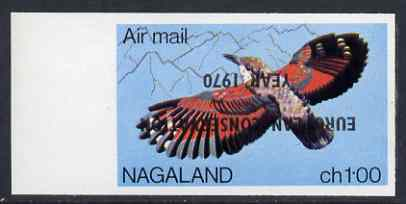 Nagaland 1970 European Conservation Year opt INVERTED on 1969 Wallcreeper 100c imperf unmounted mint*
