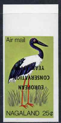 Nagaland 1970 European Conservation Year opt INVERTED on 1969 Black-necked Stork 25c imperf unmounted mint*