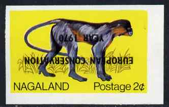 Nagaland 1970 European Conservation Year opt INVERTED on 1969 Monkey (Capped Langur) 2c imperf unmounted mint*