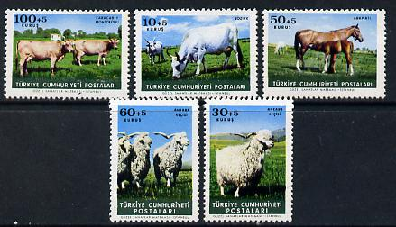 Turkey 1964 Farm Animals set of 5 unmounted mint SG 2062-66, stamps on animals   farming    cattle     bovine      sheep   ovine     horses