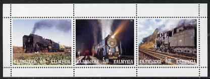 Kalmikia Republic 2001 Steam Trains #1 perf sheetlet containing 3 values unmounted mint