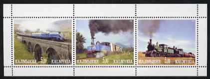 Kalmikia Republic 2001 Steam Trains #3 perf sheetlet containing 3 values unmounted mint, stamps on railways, stamps on bridges
