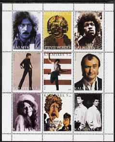 Kalmikia Republic 1999 Pop Stars perf sheetlet containing 9 values unmounted mint (Clapton, Stevie Wonder, Hendrix, Springsteen, Suzi Quatro, Phil Collins, Janis Joplin, Dylan, Mick Jagger & Keith Richards)