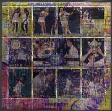 Kalmikia Republic 2000 Wimbledon - The Millennium Championships (Tennis) perf sheetlet containing set of 12 values printed on metallic foil unmounted mint