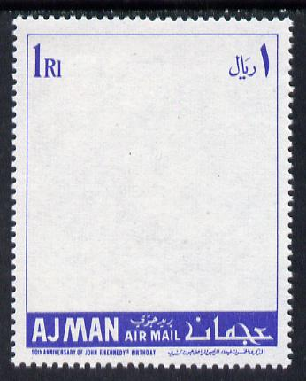 Ajman 1967 Kennedy 50th Anniversary perf proof of 1R frame only in blue, minor wrinkles but exceptionally scarce, unmounted mint as Mi 145*