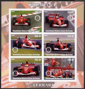 Congo 2003 Formula 1 - Ferrari imperf sheetlet containing 6 values each with Rotary Logo, unmounted mint