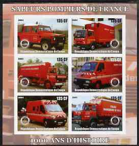 Congo 2003 Fire Services 1,000 Years imperf sheetlet containing 6 x 135 cf values each with Rotary Logo, unmounted mint