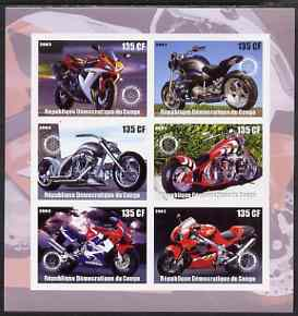 Congo 2003 Motorcycles imperf sheetlet containing 6 x 135 cf values each with Rotary Logo, unmounted mint