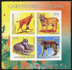 Benin 2003 World Fauna #01 - Lynxes imperf sheetlet containing 4 values unmounted mint