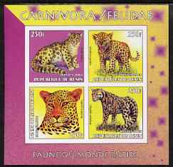 Benin 2003 World Fauna #04 - Leopards imperf sheetlet containing 4 values unmounted mint