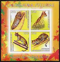Benin 2003 World Fauna #05 - Ocelots imperf sheetlet containing 4 values unmounted mint