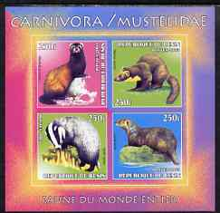 Benin 2003 World Fauna #11 - Badger, Pole Cat, Otter & Pine Marten imperf sheetlet containing 4 values unmounted mint