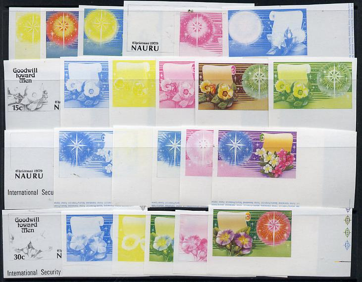 Nauru 1979 Christmas set of 4 in unmounted mint IMPERF progressive proofs on gummed paper (6 different proofs of each value = 24 proofs)