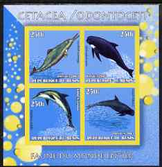 Benin 2003 World Fauna #20 - Whales & Dolphins imperf sheetlet containing 4 values unmounted mint