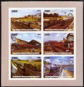 Congo 2003 Paintings of Steam Trains imperf sheetlet containing 6 x 120 cf values each with Rotary Logo, unmounted mint