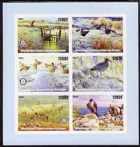 Congo 2003 Birds imperf sheetlet containing 6 x 120 cf values each with Rotary Logo, unmounted mint