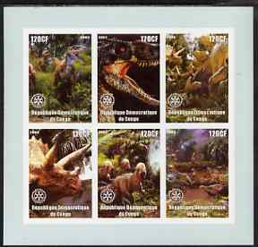 Congo 2003 Dinosaurs imperf sheetlet containing 6 x 120 cf values each with Rotary Logo, unmounted mint