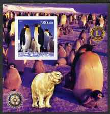 Turkmenistan 2001 Penguins imperf m/sheet with Rotary & Lions International Logos unmounted mint