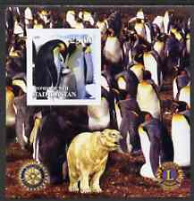 Tadjikistan 2001 Penguins imperf m/sheet with Rotary & Lions International Logos unmounted mint