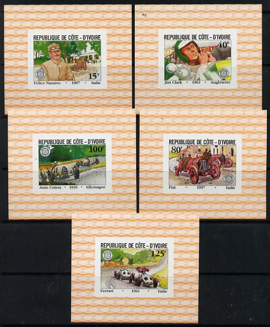 Ivory Coast 1981 French Grand Prix set of 5 unmounted mint deluxe miniature sheets