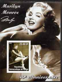 Congo 2002 40th Death Anniversary of Marilyn Monroe #03 imperf m/sheet unmounted mint