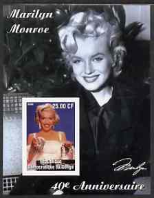 Congo 2002 40th Death Anniversary of Marilyn Monroe #05 imperf m/sheet unmounted mint