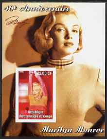 Congo 2002 40th Death Anniversary of Marilyn Monroe #07 imperf m/sheet unmounted mint