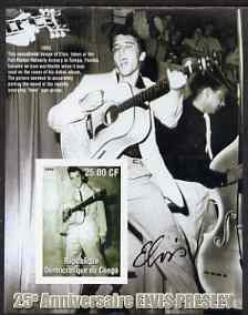 Congo 2002 25th Death Anniversary of Elvis Presley imperf souvenir sheet #2 (1955 B&W pic of Elvis with guitar in Tampa) unmounted mint