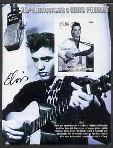 Congo 2002 25th Death Anniversary of Elvis Presley imperf souvenir sheet #3 (1955 B&W pic of Elvis in recording studio) unmounted mint