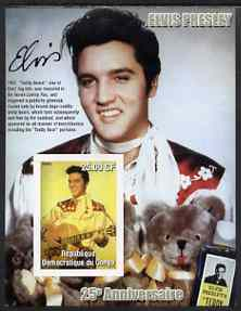 Congo 2002 25th Death Anniversary of Elvis Presley imperf souvenir sheet #5 (1957 colour pic of Elvis with Teddy Bears) unmounted mint