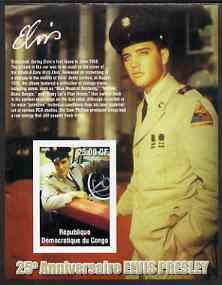 Congo 2002 25th Death Anniversary of Elvis Presley imperf souvenir sheet #7 (1958 colour pic of Elvis in GI uniform in car) unmounted mint