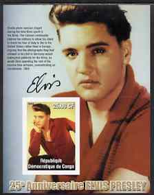 Congo 2002 25th Death Anniversary of Elvis Presley imperf souvenir sheet #8 (1959 colour pic of Elvis in red shirt) unmounted mint