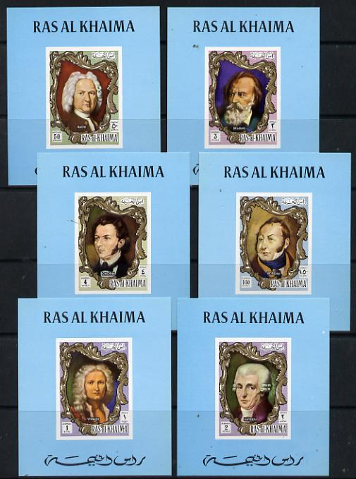 Ras Al Khaima 1971 Composers unmounted mint set of 6 deluxe imperforate miniature sheets (as Mi 586-91)