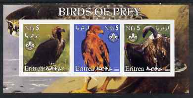 Eritrea 2002 Birds of Prey #1 imperf sheetlet containing set of 3 values each with Scouts Logo unmounted mint