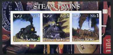 Eritrea 2002 Steam Locos #03 imperf sheetlet containing set of 3 values each with Rotary Logo unmounted mint