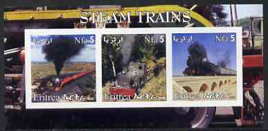 Eritrea 2002 Steam Locos #04 imperf sheetlet containing set of 3 values each with Rotary Logo unmounted mint
