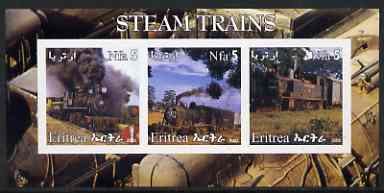 Eritrea 2002 Steam Locos #06 imperf sheetlet containing set of 3 values each with Rotary Logo unmounted mint