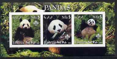 Eritrea 2002 Pandas #1 imperf sheetlet containing set of 3 values each with Scouts Logo unmounted mint, stamps on , stamps on  stamps on animals, stamps on  stamps on bears, stamps on  stamps on pandas, stamps on  stamps on scouts