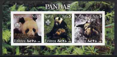 Eritrea 2002 Pandas #2 imperf sheetlet containing set of 3 values each with Scouts Logo unmounted mint