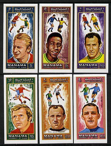 Manama 1972 World Cup Footballers imperf set of 6 unmounted mint, MI 718-23B