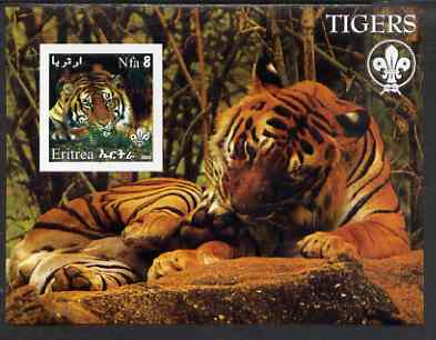 Eritrea 2002 Tigers imperf m/sheet with Scouts Logo unmounted mint